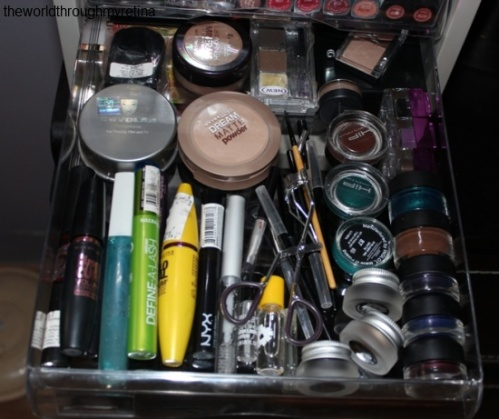 My vanity + vanity + makeup storage+ mascara