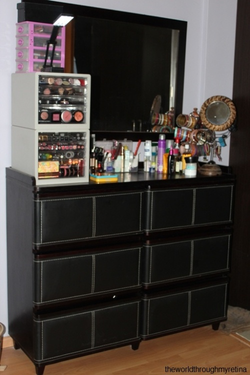 My vanity + vanity + makeup storage