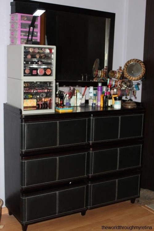 My vanity + vanity + makeup storage