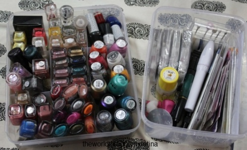 nails + nail paints + nail art + storage