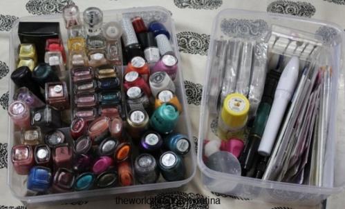 nails + nail paints + nail art + storage