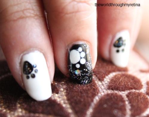 beyu 318 black + paw nail art