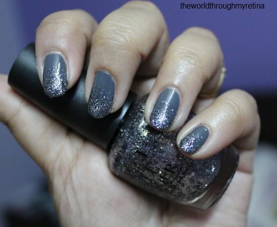 beyu 322 grey nail polish + gradient nail art